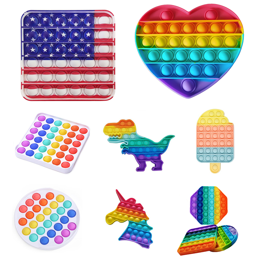 Fidgets Toys Anti Stress Push Pop It Bubble Sensory Rainbow Fidgets ToyRestore Emotions Stress Reliever Toy for OCD Anxiety
