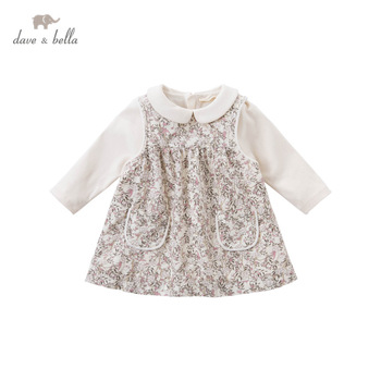 DB14824 dave bella winter baby girl's cute floral print pockets dress children fashion party dress kids infant lolita clothes image