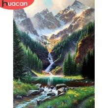 HUACAN DIY diament malarstwo krajobraz z wodospadem 5d rękodzieło pełna plac diament haft Cross Stitch obraz z górami na ścianę