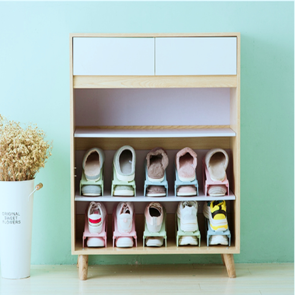 Shoes Storage Holders & Racks Double Layers Folding Rack Storage Shelf For Shoes Anti-slip Grain Home Organization And Storage