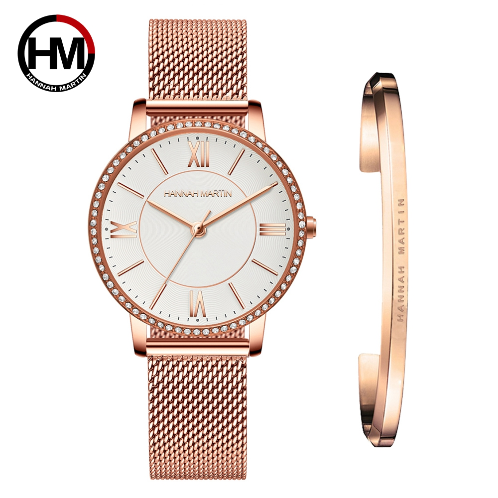 Drop Shipping 1 Set Watch & Bracelet Women  Japan Quartz Rhinestone Wristwatches Top Brand Luxury Fashion Casual Ladies Watches