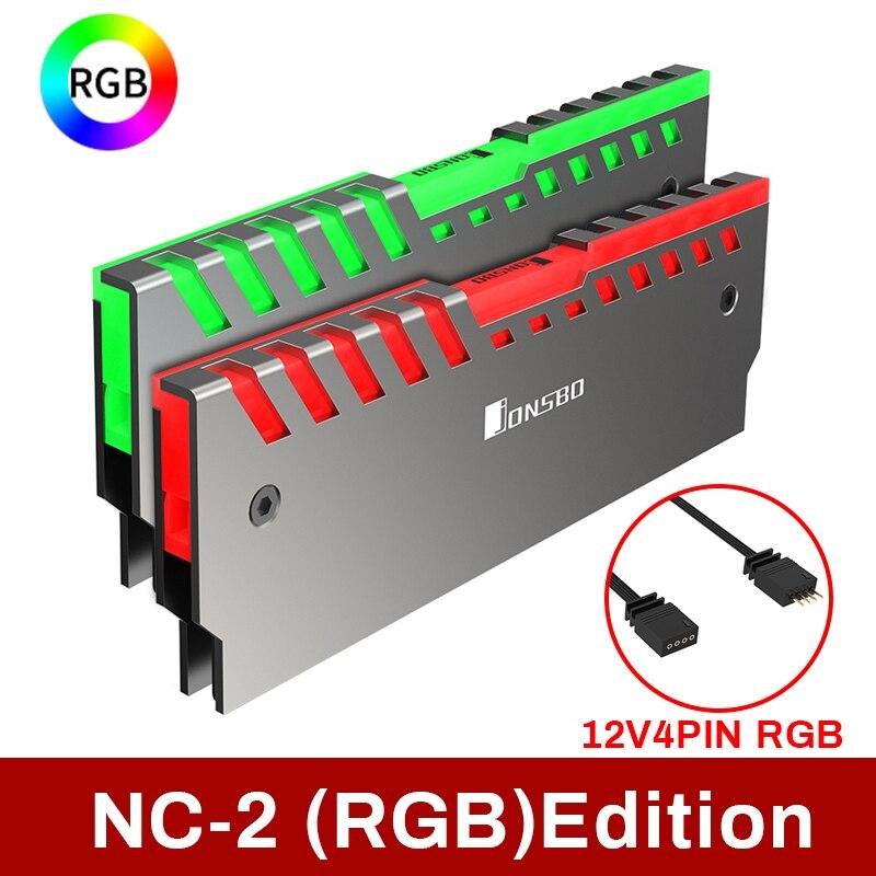 Jonsbo Nc-2 2 шт. теплоотвод ОЗУ памяти кулер поддержка настольная материнская плата Aura контроль цвета 12 В RGB алюминиевый охладитель из сплава кор...