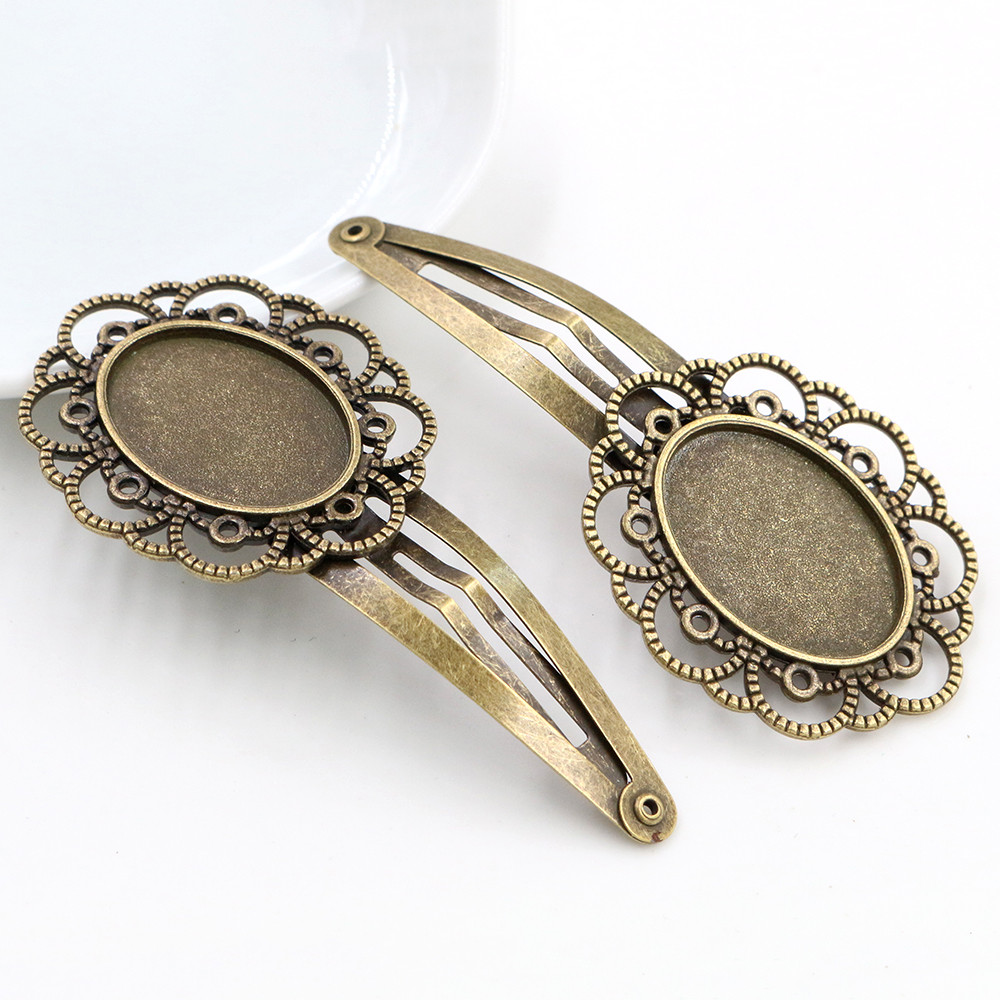 18x25mm 5pcs High Quality Antique Bronze Plated Copper Material Hairpin Hair Clips Hairpin Base Setting Cabochon Cameo-R6-11