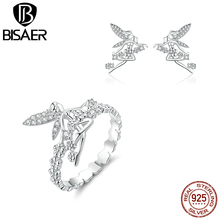 Flower Fairy Jewelry Sets 925 Sterling Silver Elf Rings & Earrings Set for Women Fashion
