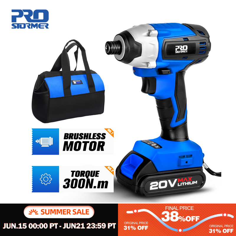 300Nm Electric Screwdriver Cordless Drill Brushless Motor Impact Driver Combo Kit 34pcs Drill Bits 20V Power Tool by PROSTORMER|Electric Screwdrivers|   - AliExpress