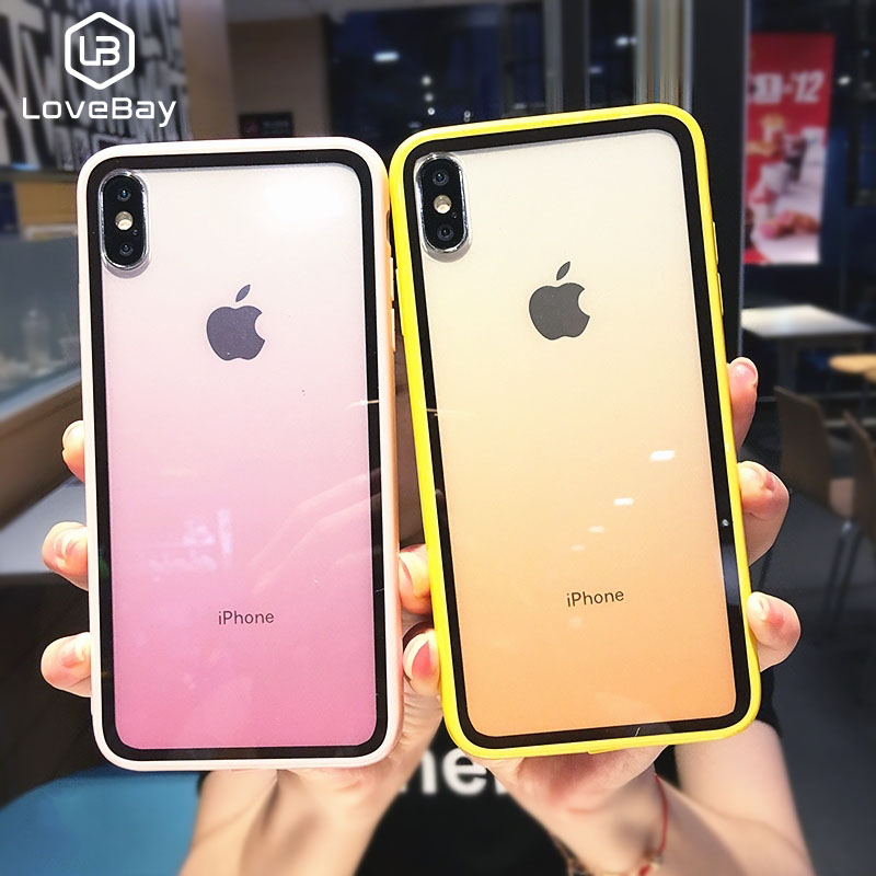 Lovebay Gradient Phone Case For iPhone 7 8 Plus X XS XR Xs Max Acrylic Transparent Cases Cover 6 6s