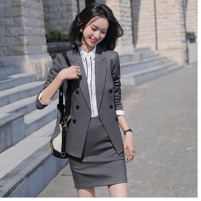 Women's Elegant Formal Business OL Spring Summer Long Sleeve Slim Blazer And Skirt Suit Office Ladies Work Wear Blazers Jacket