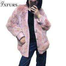 2019 New Imported Fox Fur Coat Ladies Long Silhouette Korean Pearl Buckle Slimming Winter Warm Jackets Overcoats