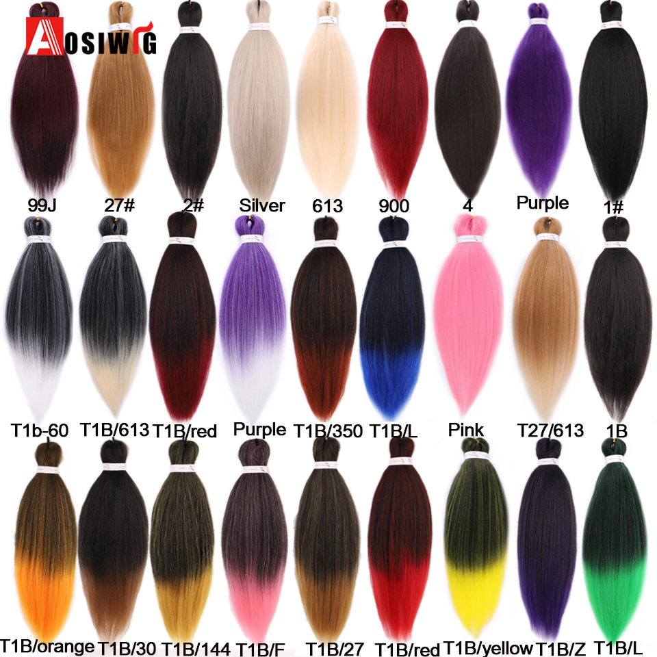 AOSIWIG 100g/pack Colorful Afro Ombre Pre Stretched Braiding Hair Extensions Synthetic Jumbo Crochet Hair Braids For Women