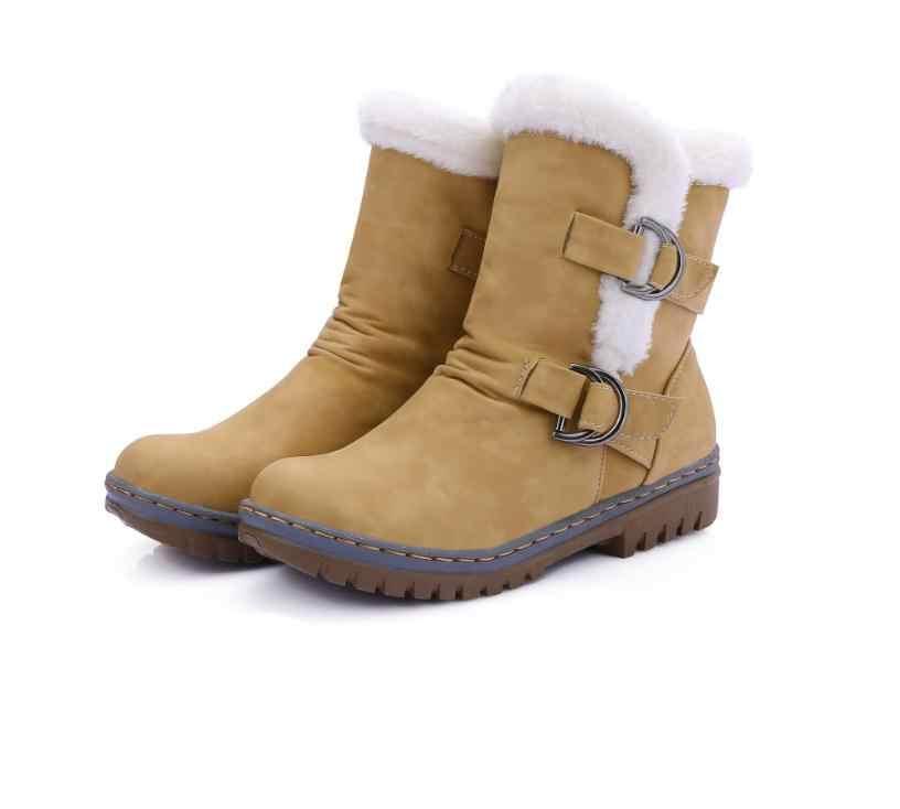 Ücretsiz kargo kadınlar için artı kadife yarım çizmeler kadınlar için kar botları kaymaz pamuk kış kadın ayakkabı