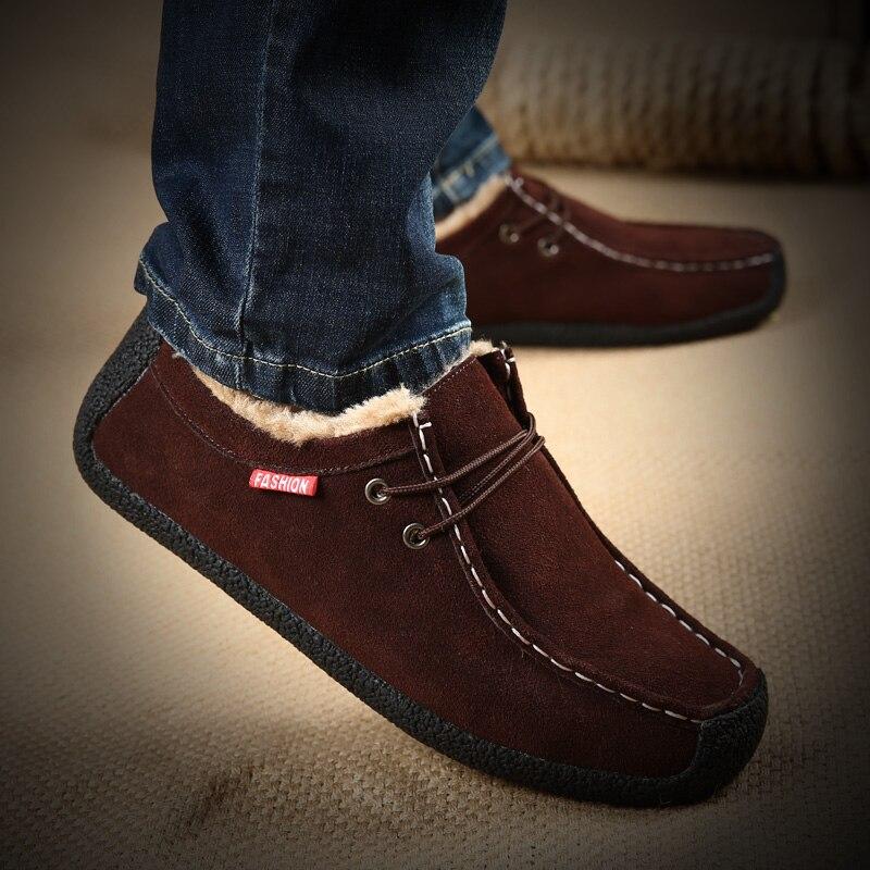 Big Size 50 Winter Pluche Warm Houden Mannen Koe Suède Schoenen Mode Mannen Flats Schoenen Casual Mannelijke Lederen Schoenen mannen Sneakers - 2