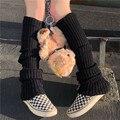 Лидер продаж; Модные женские теплые гетры до колена; зимние вязаные однотонные вязаные гетры; теплые гетры с манжетами; длинные носки
