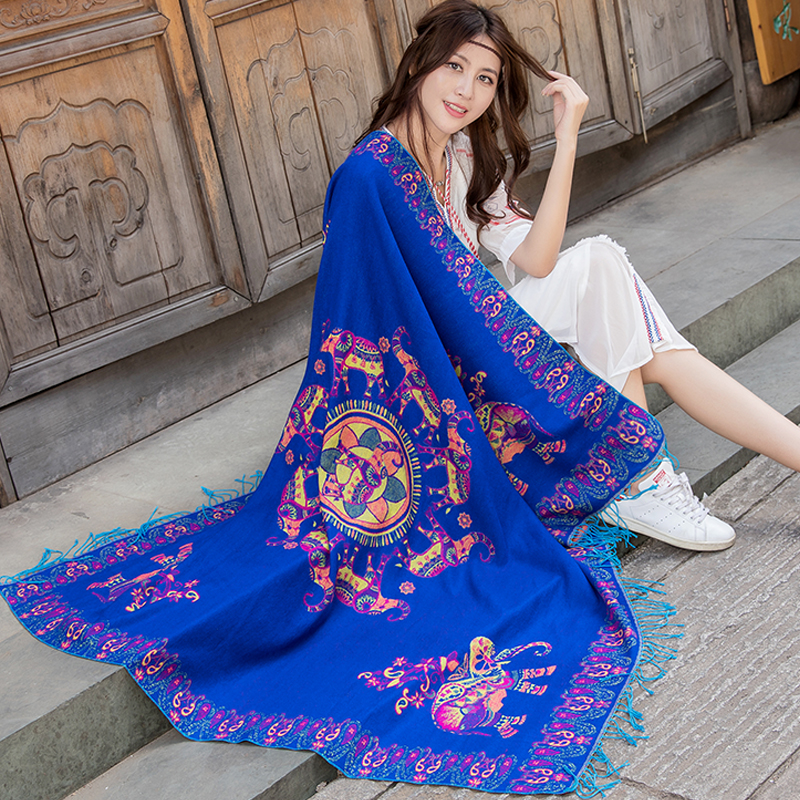Oversize 140*140cm  Travel Shawl Women Square Cashmere Pashmina Scarf Winter New Elephant L Tassel Wraps Female Scarves
