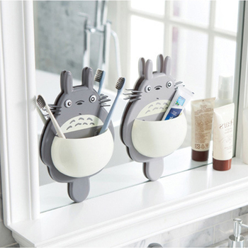 Cute Totoro 1pcs Of Toothbrush Wall Mount Bathroom Organizer Made With Suction Cup PVC