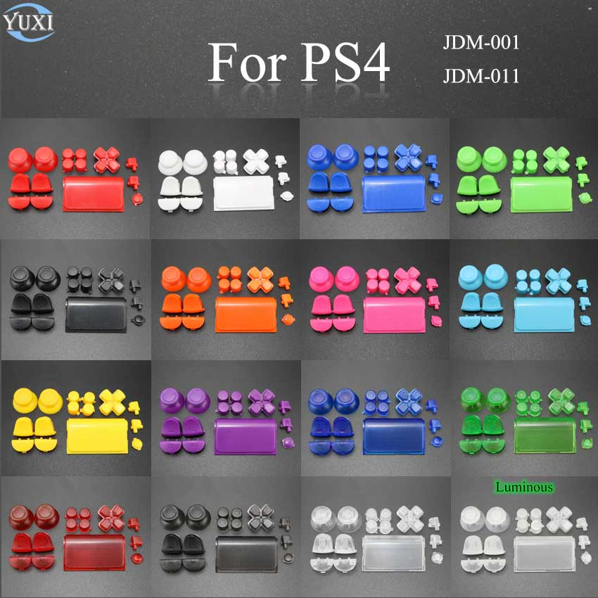 YuXi Full Sets Replacement Parts For Sony PlayStation Dualshock 4 PS4 JDM-001 011 Controlle L1 L2 R1 R2 D-Pad Buttons Grip Caps