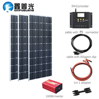 XINPUGUANG 100w Monocrystalline solar panel 300w solar kits charge with 1000w inverter for 12v or 24v battery Panneau solaire