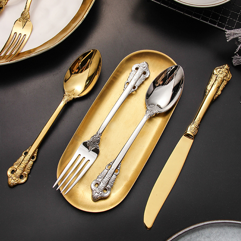 24Pcs/set Luxury Silver Gold Cutlery Set Dinnerware Flatware Set Tableware Silverware Dinner Fork Knife Spoon Drop Shipping 2