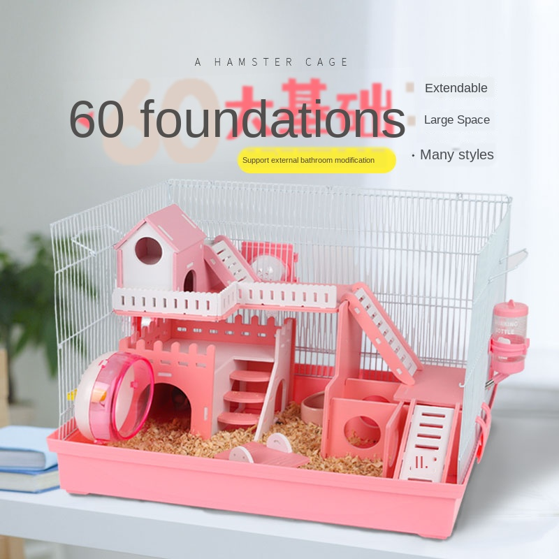 Hamster Cage Foundation Cage Acrylic Villa Single Bilayer Set Meal Hamster Accessories Warm Guinea Pig House Pet Supplies