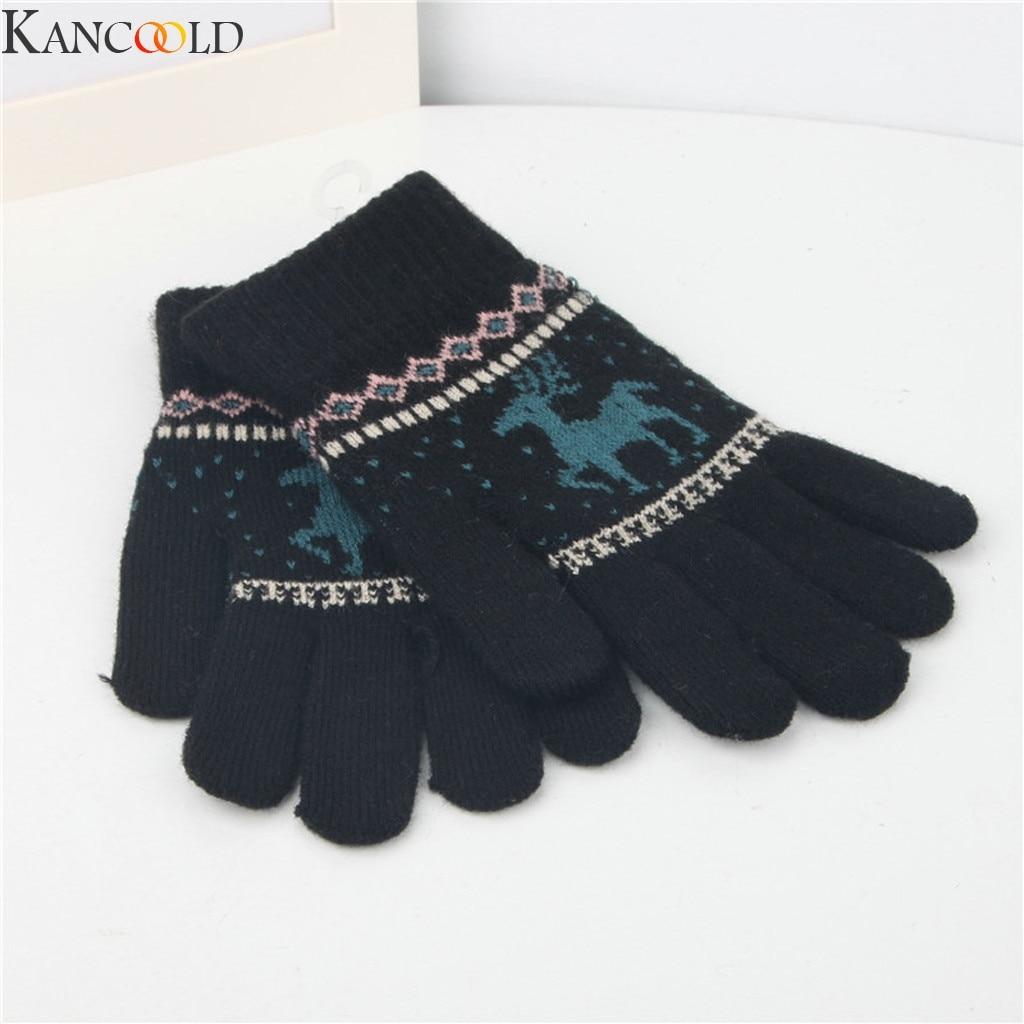KANCOOLD Women Elk Deer Snowflake Knitted Gloves Full Finger Winter Gloves Touch Screen Mittens Female Gloves Christmas Gift
