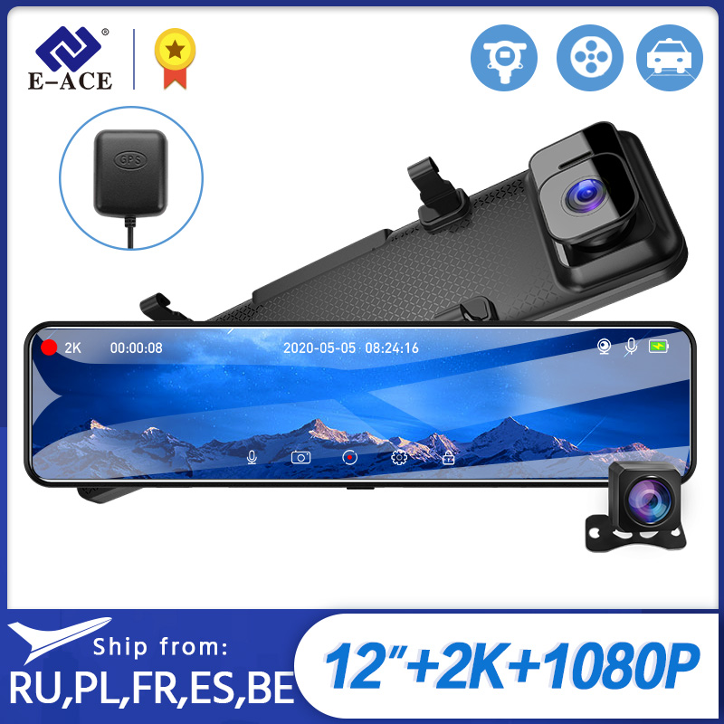 E ACE A45 12 Inch Touch Car DVR 2K Mirror Dash Cam Hisilicon Auto Recorder Sony IMX335 Dual Lens support GPS 1080P Rear Camera|DVR/Dash Camera|   - AliExpress