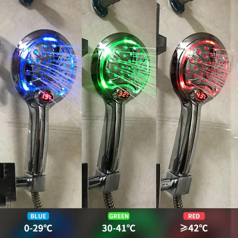 Digital LCD Display Temperature Control Shower Head 3 Colors LED Water Power Shower Head Powered Spray For Baby Pregnant Women