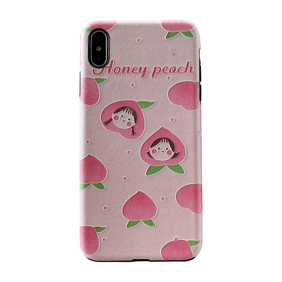 DTFQ Verão Pêssego Frutas Abacate Morango TPU Macio Em Relevo Silk Padrão Caso Capa para o iphone 7 Plus 8 6s XR Xs Max X