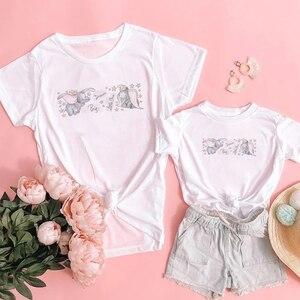 Детская одежда для девочек и мальчиков верхняя одежда с короткими рукавами на лето, слон Дамбо с принтом Футболка с коротким рукавом с изображением мультгероев для взрослых унисекс белая футболка; Семейный комплект для мамы