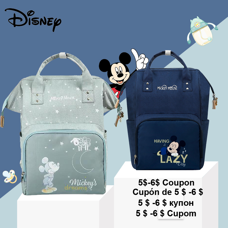 Disney New Cute Minnie Mickey Diaper Bag Waterproof/Baby Care/Maternity Backpack Bag Large Nappy Bags Baby Diaper Backpack Blue
