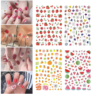15 Designs Nail Stickers Cute Fruit Girl DIY Nail Art Water Transfer Decals Tattoos Sliders Manicure Decorative Nails Stickers