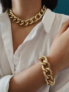 Bracelet Jewelry-Set Necklace Steampunk Chunky Chain Pendant Choker Women Hip-Hop Maxi