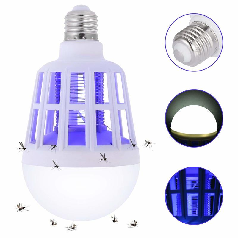 New 2 In 1 15W Luminaire Mosquito Killer Lamp LED Household Electric Shock Mosquito Dispeller   Insect Killer Bulb