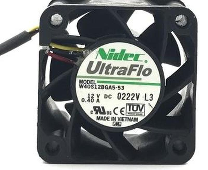 For NIDEC UltraFlo W40S12BGA5-53 DC 12V 0.40A 4028 3-wire Cooling Fan Free Shipping