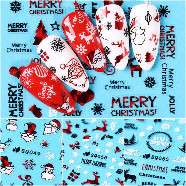 12PCS/Sheet Christmas Series 3D Nail Stickers