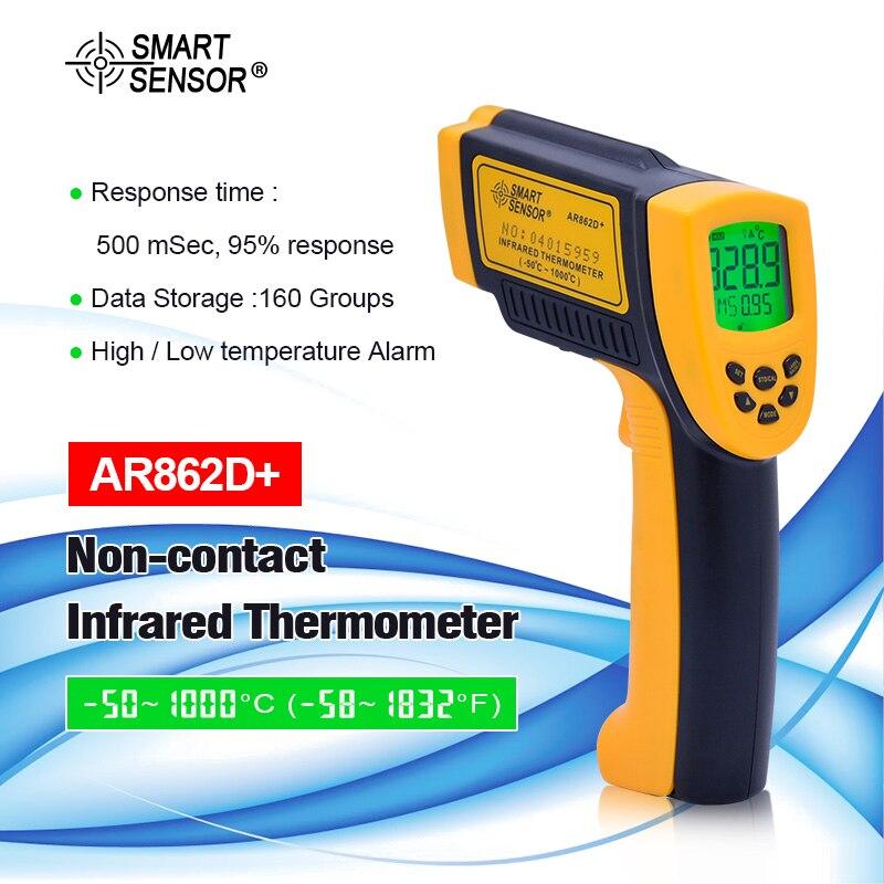 Цифровой ИК лазерный пистолет с интеллектуальным датчиком температуры 50 ~ 1000C Бесконтактный инфракрасный термометр пирометр AR862D + Регулиру