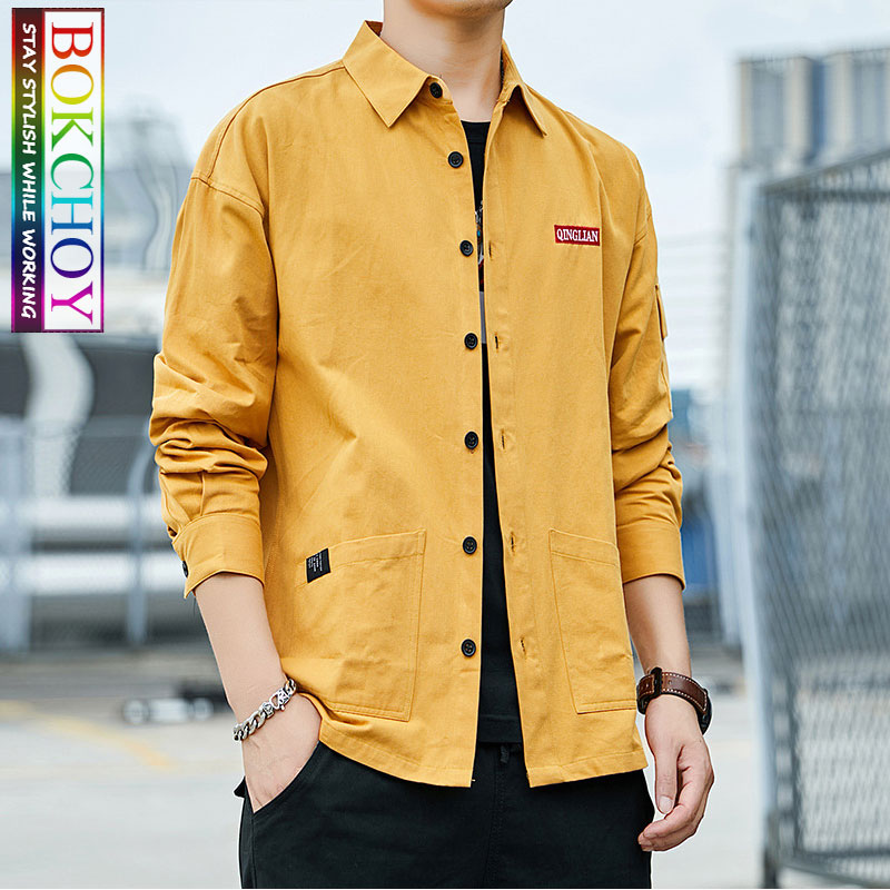 Fashion Men Long Sleeve Shirt, 2019New, Solid Color,Safari Style, Cotton, Work Clothes, Bokchoy - Stay Stylish While Working