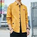 Moda masculina manga longa camisa, 2019new, cor sólida, estilo safari, algodão, roupas de trabalho, bokchoy-fique à moda durante o trabalho