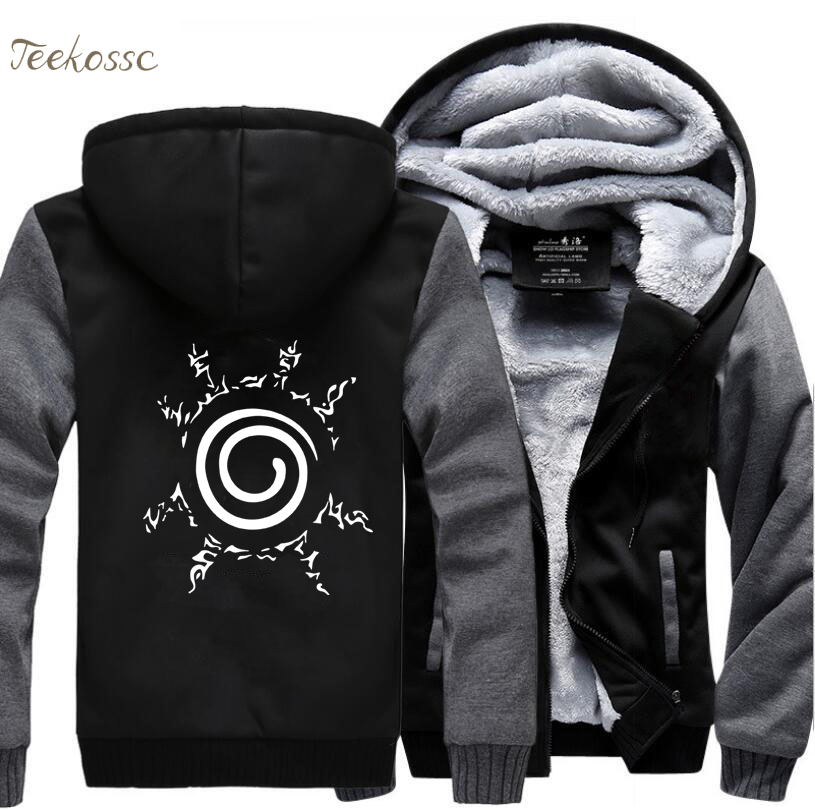 Japan Anime Sweatshirts Naruto Uzumaki Naruto Harajuku Sweatshirt Hoodie Men 2018 Winter Warm Male Fleece Zipper Thick Hoodies