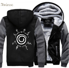 Japan Anime Sweatshirts Naruto Uzumaki Harajuku Sweatshirt Hoodie Men 2018 Winter Warm Male Fleece Zipper Thick Hoodies