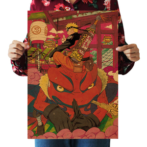 Anime Naruto psychic beast Toad kraft poster wall sticker room picture painting home decoration painting 51x36cm