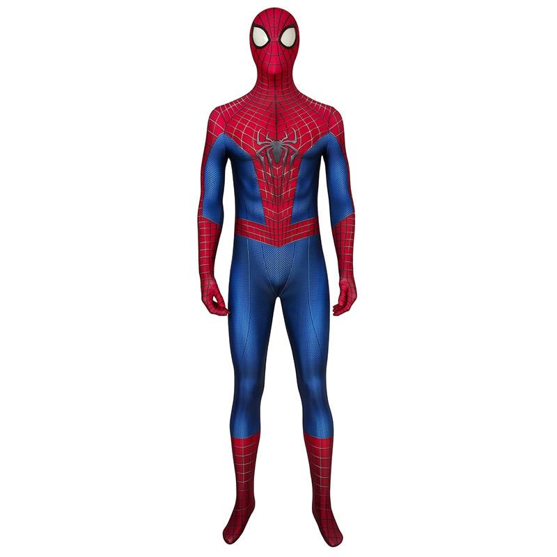 The Amazing Spider-Man 2 Costume Spiderman Peter Parker Cosplay Jumpsuit Zentai Superhero Bodysuit Adult Men Halloween Outfit