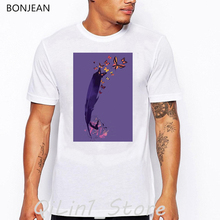 vintage t shirt men Abstract Butterfly flowers print t-shirt camisetas hombre aesthetic clothes high quality white tshirt tops недорого
