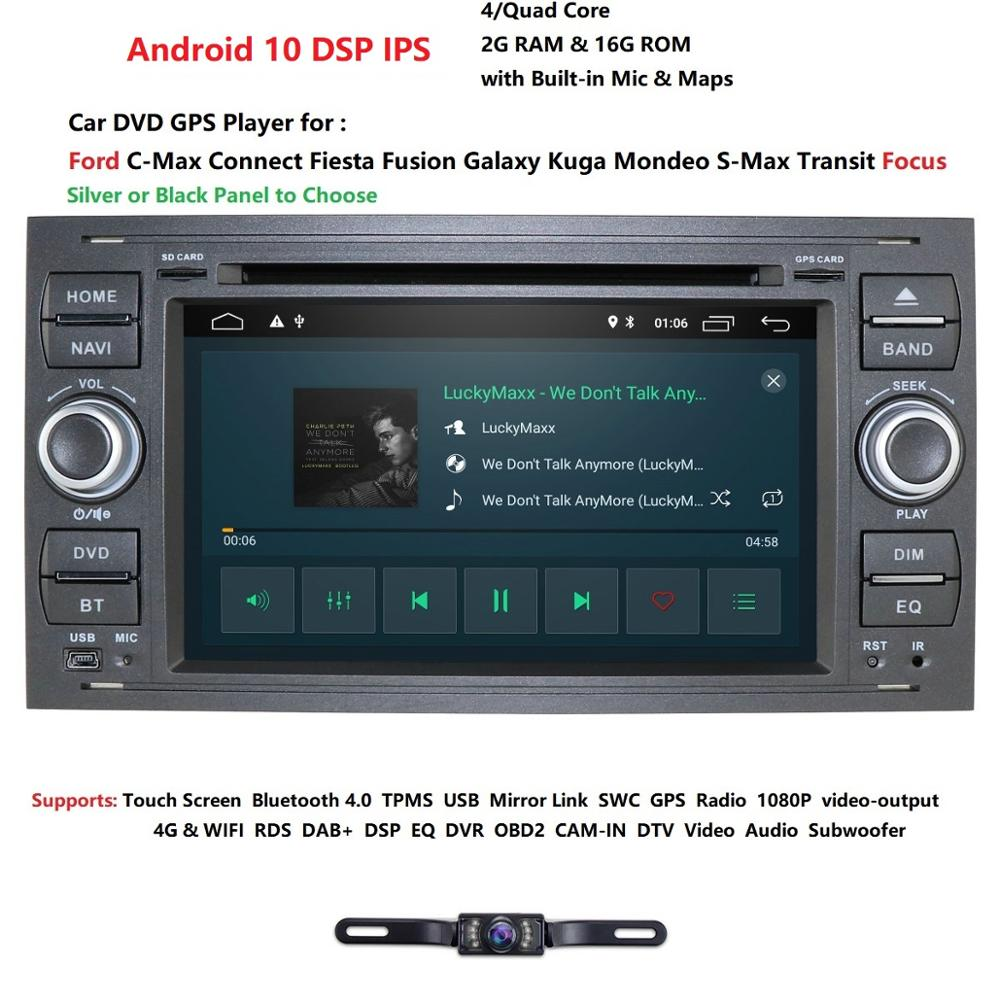 Pure Android10.0 Car DVD <font><b>GPS</b></font> Navi Player Stereo Radio Audio 4G For <font><b>Ford</b></font> Focus 2 Mondeo S <font><b>C</b></font> <font><b>Max</b></font> Fiesta Galaxy Connect With Camera image