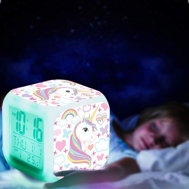 Kids Unicorn Alarm Clock 7 Colors Changing Night Light Led Digital Clock Children Desk Clock Despertador будильник Kids Gift 3