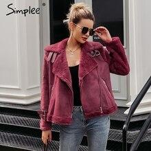 Simplee Faux leather suede lamb fur jacket coat women Moto zipper suede jacket female overcoat Casual turn down winter coat 2017