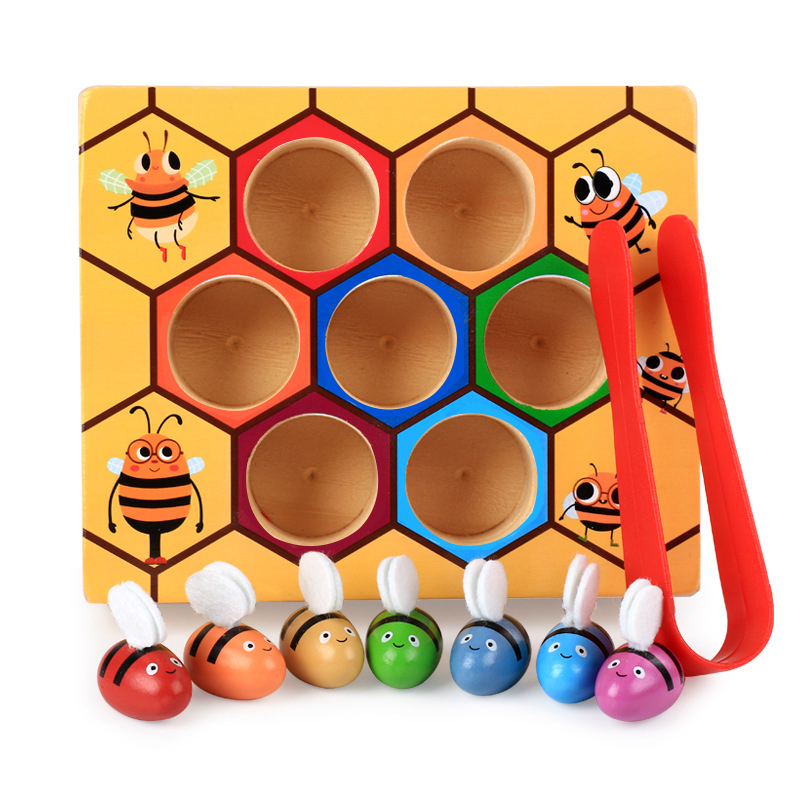 Wooden Beehive Leaning Educatinal Toys Montessori Hardworking Bee Hive Interactive Games For Children Clip Funny Toys