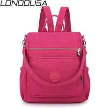 3 в 1 женский рюкзак, однотонные модные школьные сумки для девочек, нейлоновый водонепроницаемый студенческий рюкзак, Повседневная Дорожная сумка на плечо