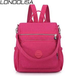 Image 1 - 3 1 여자 배낭 솔리드 패션 학교 가방 여자 나일론 방수 대학생 배낭 어깨 여행 인과 가방