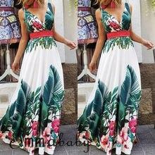 Goocheer Womens Summer Boho Casual Long Maxi Evening Party Cocktail Beach Dress Sundress