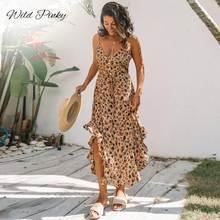 Женское длинное платье с леопардовым принтом wildpinky Пляжное