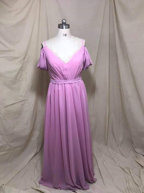 Custom Made A-Line Long Lace V-neck Bridesmaid Dresses with Pockets Floor Length Chiffon Backless Formal Wedding Party Dresses